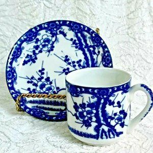 Blue & White Floral Small Tea Cup Set Inarco Japan